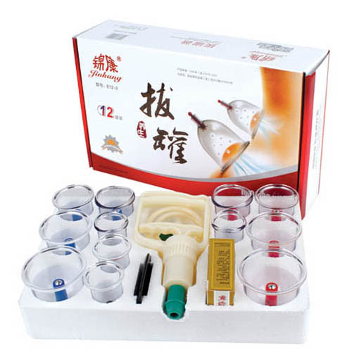 Jinkang Vacuum Cupping Set 12 Cups with Guasha set