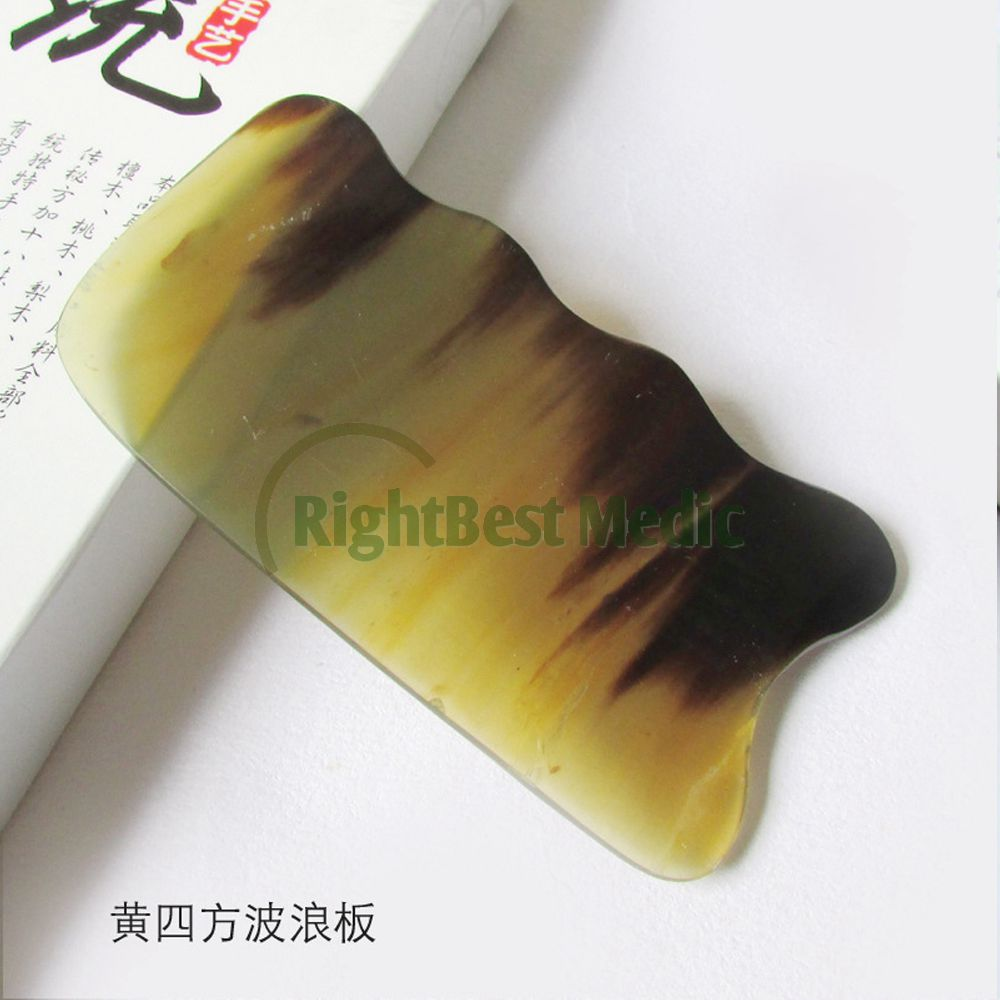 Yellow BUFFALO HORN Gua Sha Board Wave Shape